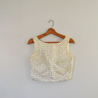 Vintage Sequin Crop Top Silver Sequin Sleeveless Shirt Sequin Crop Cocktail Blouse White & Silver Chevron Pattern Top Size Medium