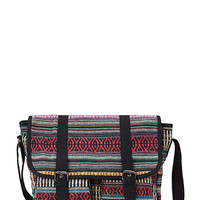 FOREVER 21 Tribal-Inspired Messenger Bag Black/Multi One