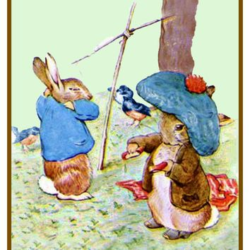Peter and Benjamin Rabbit Play inspired by Beatrix Potter Counted Cross Stitch Pattern