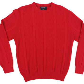 Red Pullover Sweater by Christian Dior - Cable Knit Jumper Ivy League Preppy Menswear - Men's Size Medium Med M