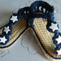 Girls navy crocheted star sandals/baby sandals/Newborn/patriotic/READY to SHIP/FREE Ship/4th of July/Memorial Day/Infant