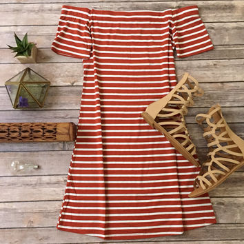 Off Shoulder Stripes in Rust