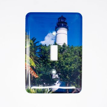 Key West Florida Lighthouse Light Switchplate, Hand Imprinted Photograph