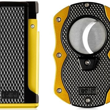 Colibri Monza Yellow Lighter and Cigar Cutter Gift Set