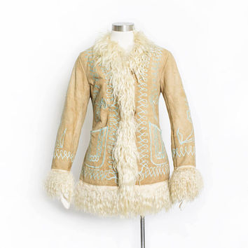 Vintage 1960s Coat - Afghan Embroidered Shearling Curly Fur Lamb Suede Ethnic Hippie Boho - Small