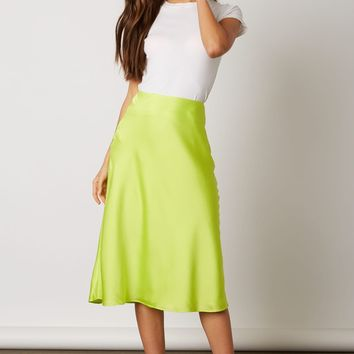BIAS CUT SATIN MIDI SKIRT - Lime on Acid