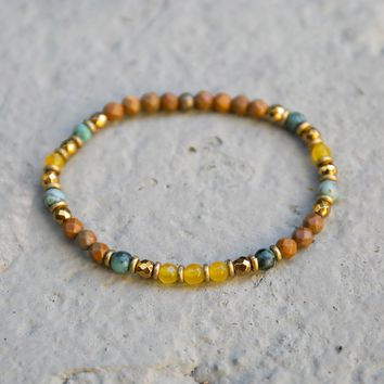 Yellow Jade and Jasper Delicate Bracelet
