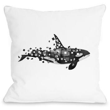 """Fractured Killer Whale"" Indoor Throw Pillow by Terry Fan, 16""x16"""