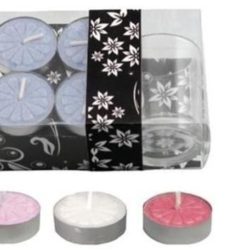 Dd 4-Piece Tea Light Candle With Glass Holder In Clear Box - Assorted(Pack Of 48)