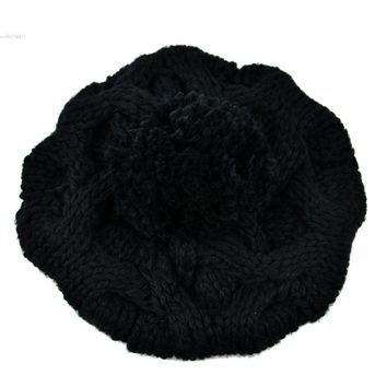 Korean Women's Winter Crochet Beanie 2015 hot Selling Fashion Warm Knitted Wool Hat Beanie Warm Pumpkin Ball Cap 29