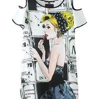 White Cartoon Print Cut-Out Sleeve Tunic Dress