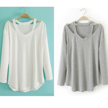 Cotton Soft Long Sleeve V Neck Loose Solid Casual T-Shirt Tee Tops Blouse