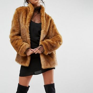 ASOS Coat in Vintage Faux Fur at asos.com