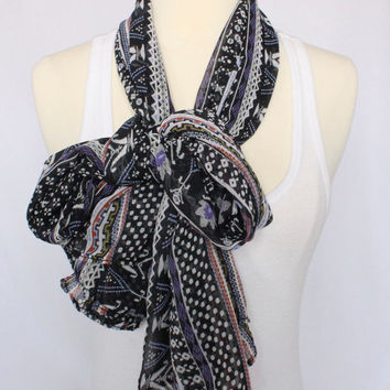 Lightweight Sheer Scarf - Black Aztec Pattern