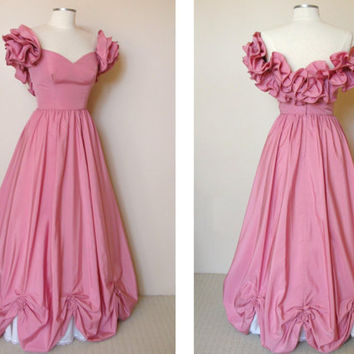 50's Pink Party Dress - Princess Cinderella Ball Gown / Women's 1950's Formal / Wedding