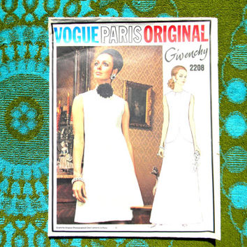 Vintage 60s Vogue Sewing Pattern - VOGUE PARIS ORIGINAL 2208 by Givenchy. Uncut. Label Included. One piece evening dress. Mad Men Fashion.