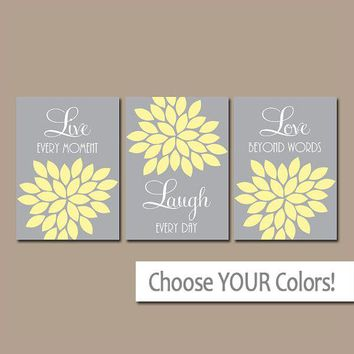 Live Laugh Love Wall Art, Yellow Gray Bedroom Pictures, Bathroom Decor, Flower Wall Art, Nursery Decor, Floral CANVAS or Print Set of 3