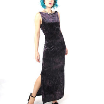 90s Bodycon Velvet Maxi Dress Plum Purple Evening Gown Tie Dye Stretch Velvet Dress Witchy Goth Sleeveless Backless Formal Party Dress (S/M)