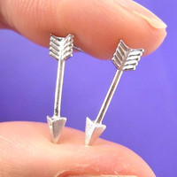 Realistic Arrow Shaped Stud Earrings in Silver | ALLERGY FREE