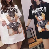 Women Casual Fashion Personality Letter Logo Cartoon Bear Print Short Sleeve T-shirt Mini Dress
