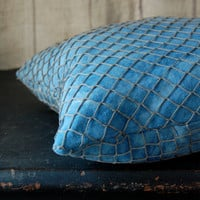 $39.00 indigo fisherman's pillow by enhabiten on Etsy