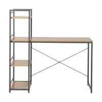 Desk with Built In 4 Shelf Bookcase Natural Wood - Homestar