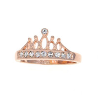 Dear Deer Rose Gold Princess CZ Pave Band Ring