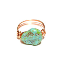 Trilobite Fossil Ring Turquoise and Copper Custom Sized Made to Order Just for You Fossil Jewelry Prehistoric Czech Glass