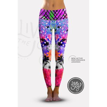 2nd Gen. California Palms, Eco-Friendly Active Performance Leggings