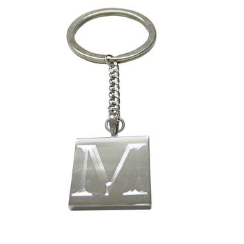 Letter M Etched Monogram Pendant Keychain