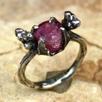 Raw PinkTourmaline Oak Twig Silver  Ring  womans ring Organic Womans Ring Rustic Band