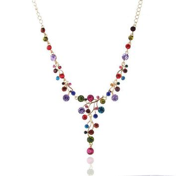 Cute Colorful Full Crystal Statement Necklace for women