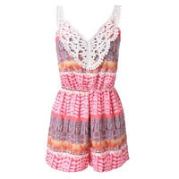 Pink Printed Lace Panel Romper