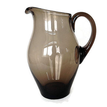 Hand Blown Pitcher, Smokey Glass, Mid Century, Sangria, 1960s