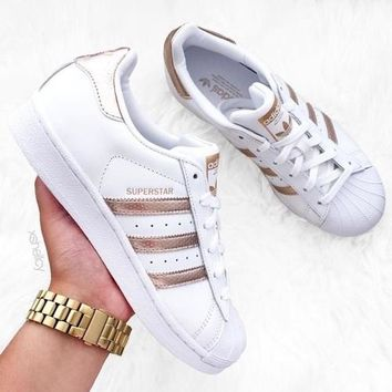 """Adidas"" Shell-Toe Fashion Women Men Personality Flats Sport Shoes Sneakers White(Rose Golden Line) I"