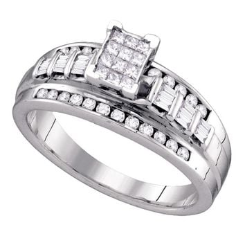 Sterling Silver Womens Princess Diamond Cluster Bridal Wedding Engagement Ring 1/2 Cttw Size 8