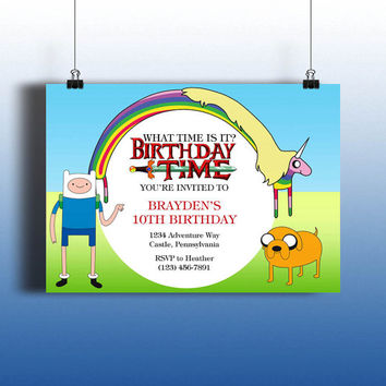 Instant Download-Adventure Time Finn Rainbow Unicorn Jake Cartoon DIY Printable Birthday Party Invitation Template