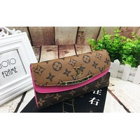 LV Louis Vuitton Fashion Ladies Leather Fold Multicolor Buckle Handbag Wallet Purse Rose Red I-MYJSY-BB