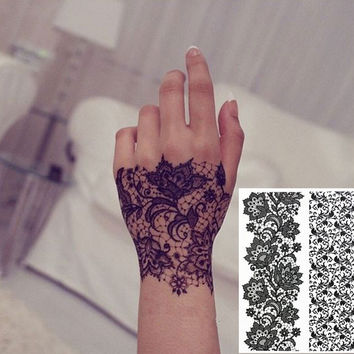 #BH-3 Black Henna Lace Tattoos Temporary Inspired Henna Tattoos Stickers
