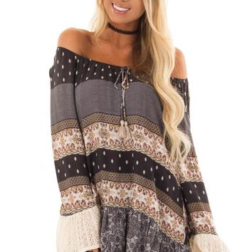 Dove Grey Off the Shoulder Peplum Top with Mixed Print