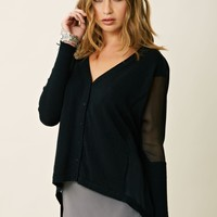 Blu Moon Chiffon Side Panel Cardigan