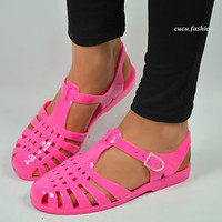 WOMENS LADIES JELLY SUMMER SANDALS FLAT BEACH HOLIDAY FLIP FLOPS SHOES SIZE 3-8