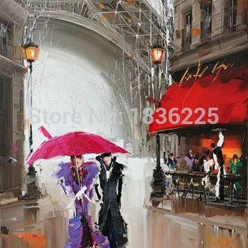 lovers under red umbrella Modern Paris Effiel Tower Painting Picture City Building Landscape Painting Canvas couple Wall Art
