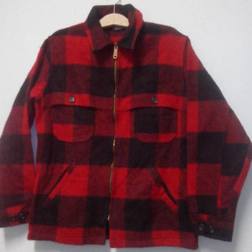 Hot Sales,Clearance stock Vintage 70s Woolrich Jacket Wool Plaid Red size L