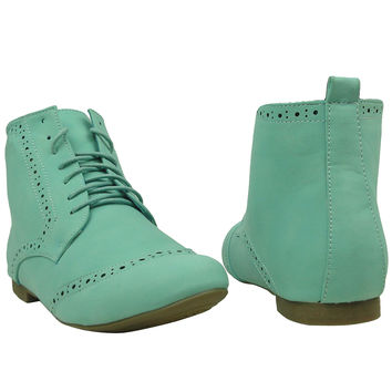 Womens Ankle Boots Lace Cutout Stitching Shoe Laces Mint SZ