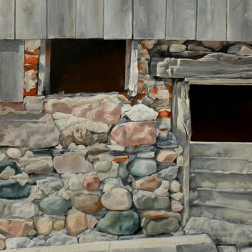 Stone Wall, Old Barn, Original Painting, Oil on panel, 10x12