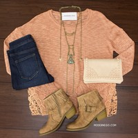 Crochet Sides Sweater $32.00