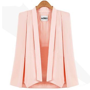 Autumn Women Blazer Casual Fashion Suit Solid Color Wear to Work Office Ladies Clothing Fall New Style Cloak Design Blazers