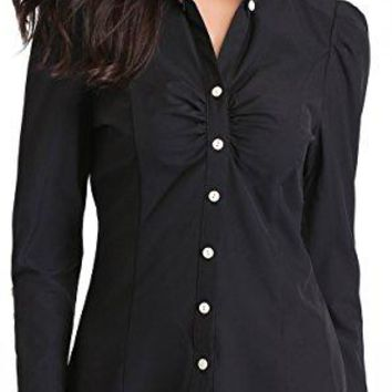 MISS MOLY Womens Shirts Long Sleeve Button Down Shirt with Stretch Simple Easy Care Tops Blouse