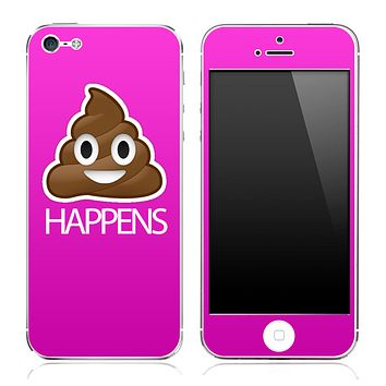 Crap Happens Solid Hot Pink Skin for the iPhone 3gs, 4/4s or 5